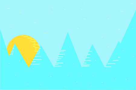 Sun behind pine trees forest. Vector illustration