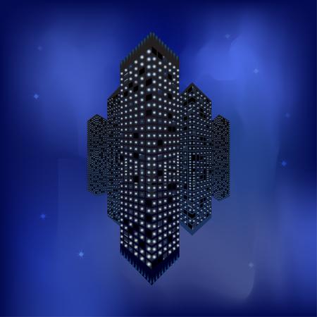 Black realistic skyscraper with mirror reflection over night sky. Vector illustration