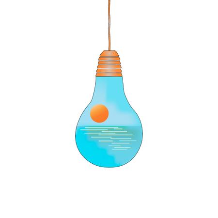 太陽と水の中で電球の形で生態学的力のシンボルです。ベクトル図