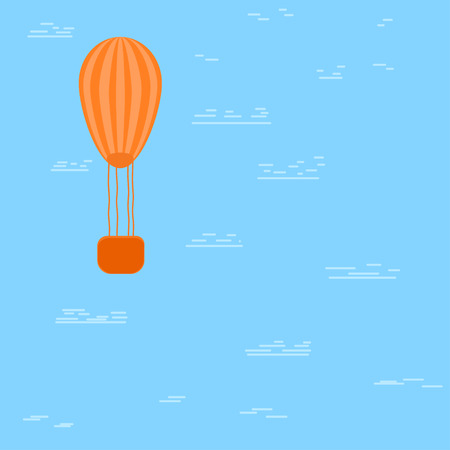 Hot air baloon floating in the cloudy sky. Vector illustration