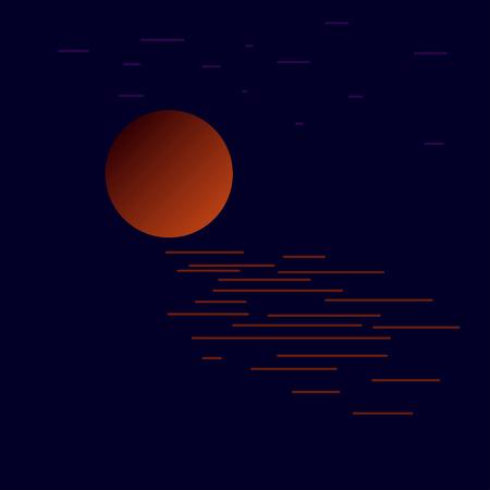 Maan over zeewater 's nachts. Vector illustratie