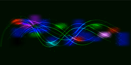 Black background design of sine colorful waves and lights. Vector illustration Illustration