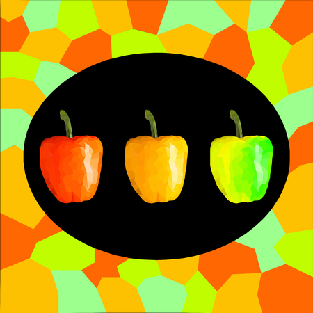 Three colorful bell peppers in a frame. Vector illustration