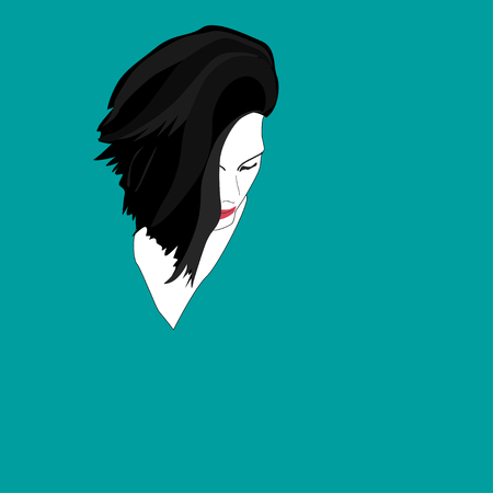 Black haired womans head over blue background. Vector illustration