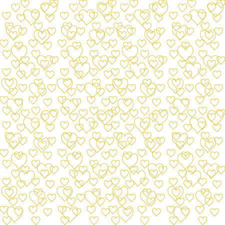 Cute yellow outline heart seamless pattern. Vector illustration