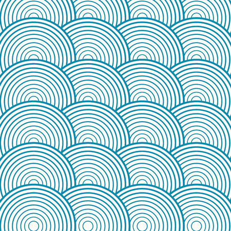 Blue abstract circle seamless pattern. Vector illustration