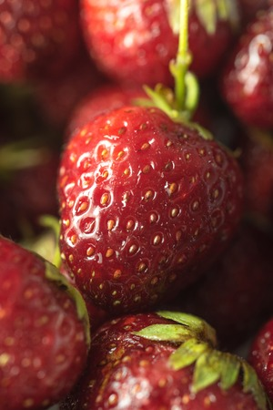 Picture of fresh ripe perfect strawberry. Macro.