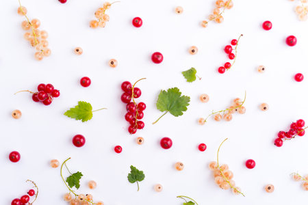 Top View Photo of mix of berries isolated over white background table.