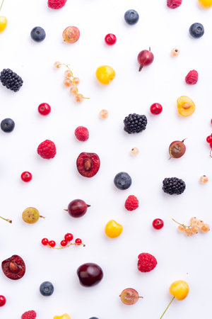 Top View Picture of mix of berries isolated over white background table. Stock Photo