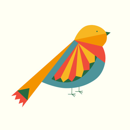 Abstract bright colorful patterned bird isolated over white background. Vector illustration Ilustrace
