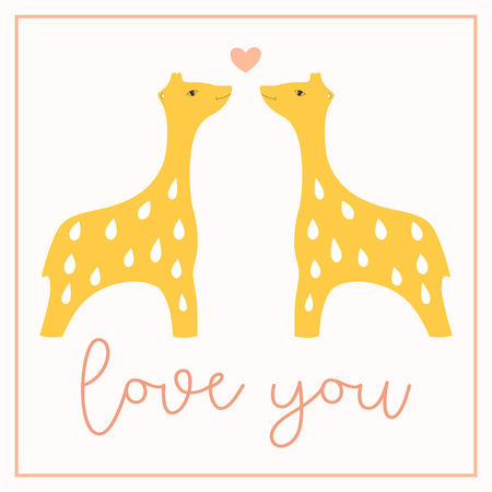 I Love You postcard with two giraffes in a frame kissing with heart. Vector illustration