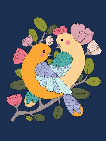 Twee leuk vogelpaar op een tak met geïsoleerde bloemen. Vector illustratie