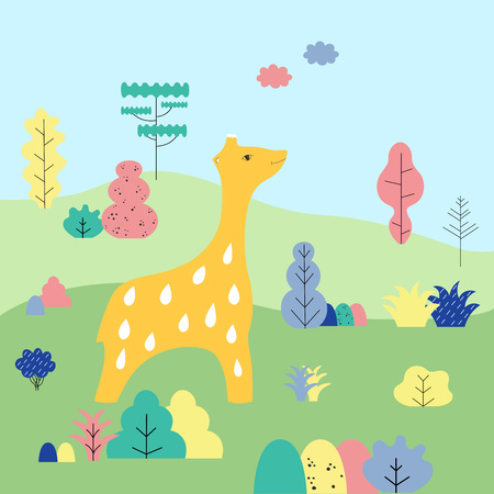 Cute cartoon giraffe in a wildlife surroundings. Vector illustration