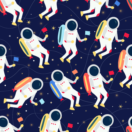 Cartoon cosmonaut in spacesuit flying in outer space pattern. Vector illustration