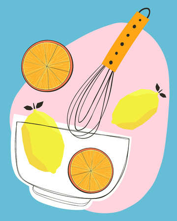 Lemons and oranges mixing together with a whisk in a bowl. Vector illustration Illusztráció