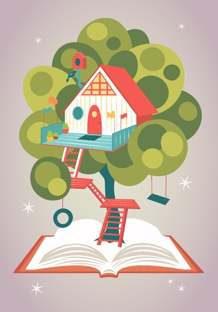 Magical fairytale house on a tree growing from an opened book. Vector illustration Vettoriali