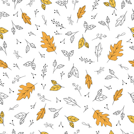 Floral pattern with autumn leaves and herbs. Vector illustration