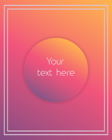 Simple red and pink gradient banner template background with square frame and place for text. Vector illustration