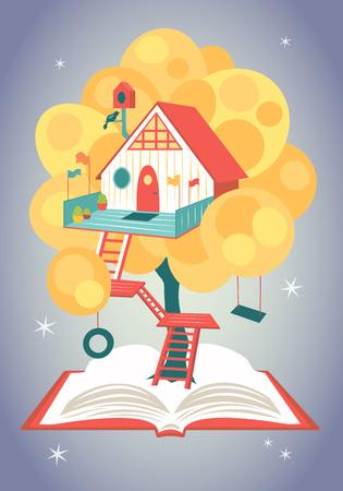 Prachtig sprookjeshuis op een boom die groeit uit een geopend boek. Vector illustratie Stock Illustratie