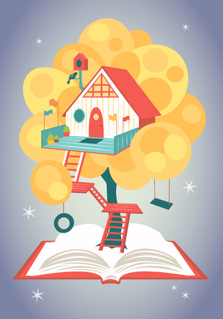 Wonderful fairytale house on a tree growing from an opened book. Vector illustration
