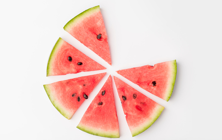 berry: Pieces of juicy red watermelon in circle isolated over white Stock Photo
