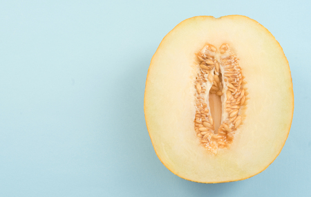 Horizontal shot of half yellow ripe melon isolated over blue