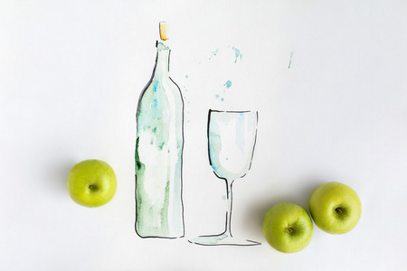 Hand watercolor drawn bottle of water with full glass and green apples isolated white background