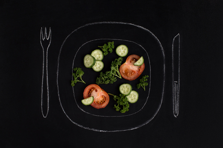 Fresh tomato salad on a drawn plate. Beautiful hand drawn illustration. Editable  image. Stock Photo