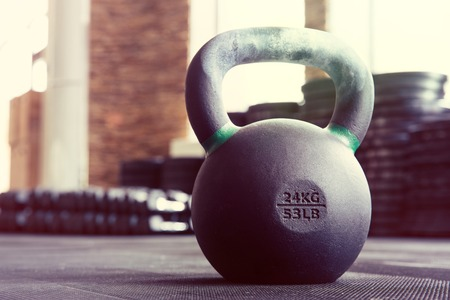Closeup image of a kettle ball in fitness gym 版權商用圖片