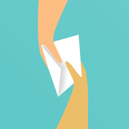 Hand giving white paper envelope to another hand. Vector illustration