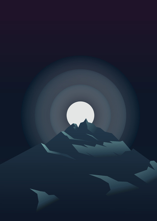 Moon shinning bright at night over the mountain. Vector illustration