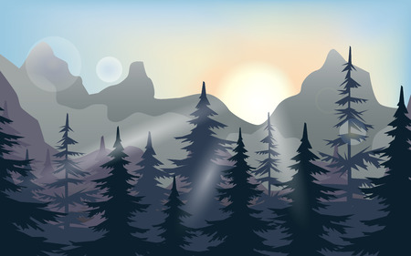 Mountains and forest landscape early in the morning at sunrise. Vector illustration