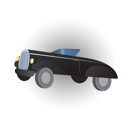 Black retro vintage car isolated over white. Vector illustration Ilustração
