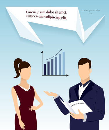 Businessman and businesswoman giving a workflow presentation together with graph and place for text. Vector illustration
