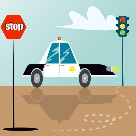 一時停止の標識、交通光と道路上の漫画の警察の車。ベクトル図