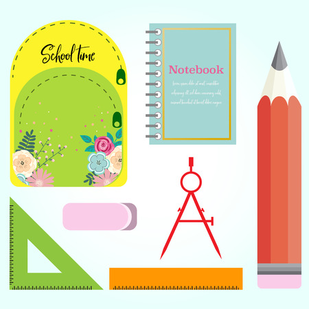 Set of school accessories over white. Vector illustration