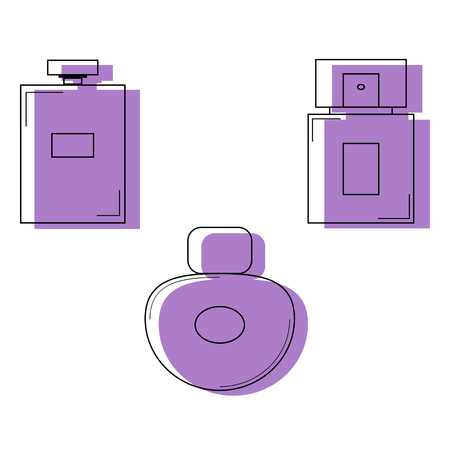 Perfume bottles icons set. Vector illustration