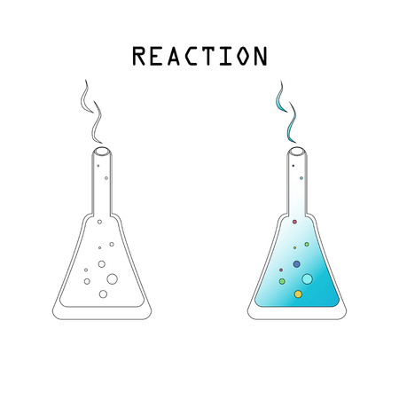 Two glass scientific tubes with liquid. Reaction lettering. Vector illustration