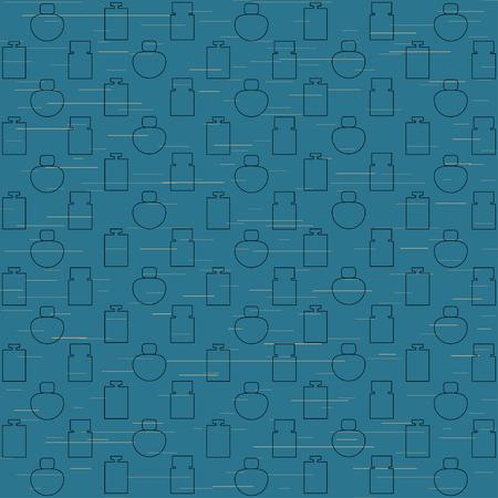 Female perfume bottles blue pattern background. Vector illustration