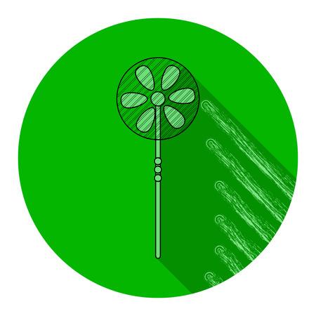 Runde Ikone des grünen Ventilators. Vektor-Illustration Standard-Bild - 84859205