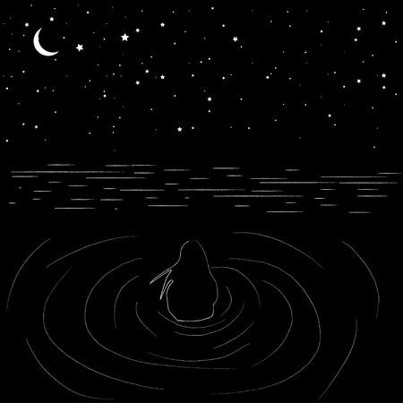 夜星空と水の中をジャブジャブ。抽象的なベクトル図