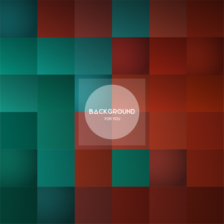 Square mosaic geometric background with place for your text in a circle frame. Vector illustration
