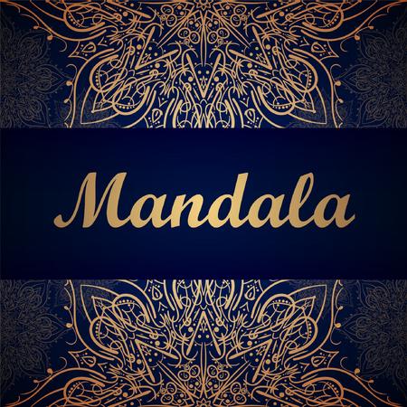 Golden mandala pattern design template. Ethnic background frame. Vector illustration