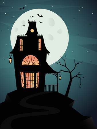 Spooky haunted ghost house with full moon and bats. Vector illustration Stock Illustratie