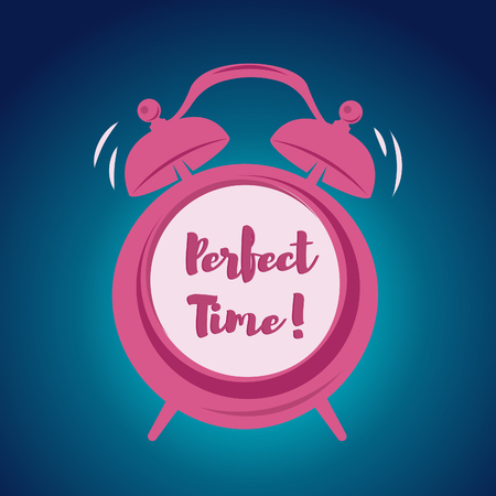 Wake up poster with alarm clock. Perfect time lettering. Vector illustration Stock Vector - 85164106