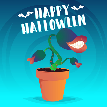 Evil carnivorous plant with teeth in flower pot with Happy Halloween lettering. Vector illustration