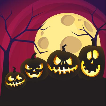 Halloween-pompoensilhouetten met volle maan op een achtergrond bij nacht. Vector illustratie