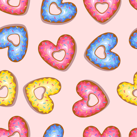 Cute multi-colored heart shaped donuts background. Vector illustration