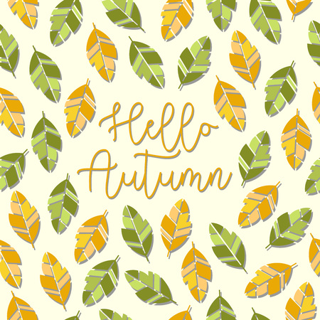 Hello autumn lettering with abstract leaves pattern background. Vector illustration