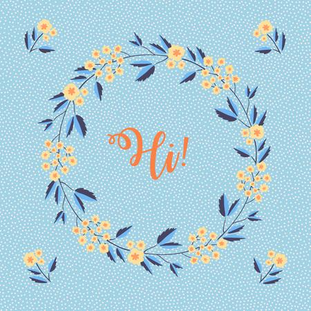 Lettering Hi inside a floral wreath over blue background. Vector illustration
